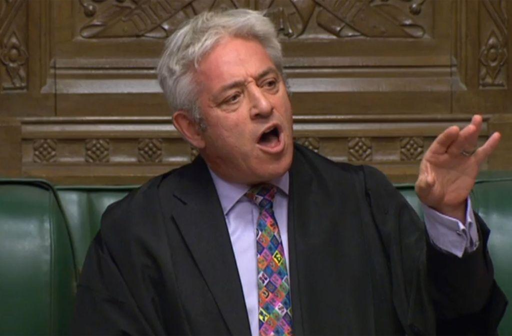 Der britische Parlamentspräsident John Bercow stoppt eine Abstimmung über den Brexit-Vertrag. Foto: AFP/HO