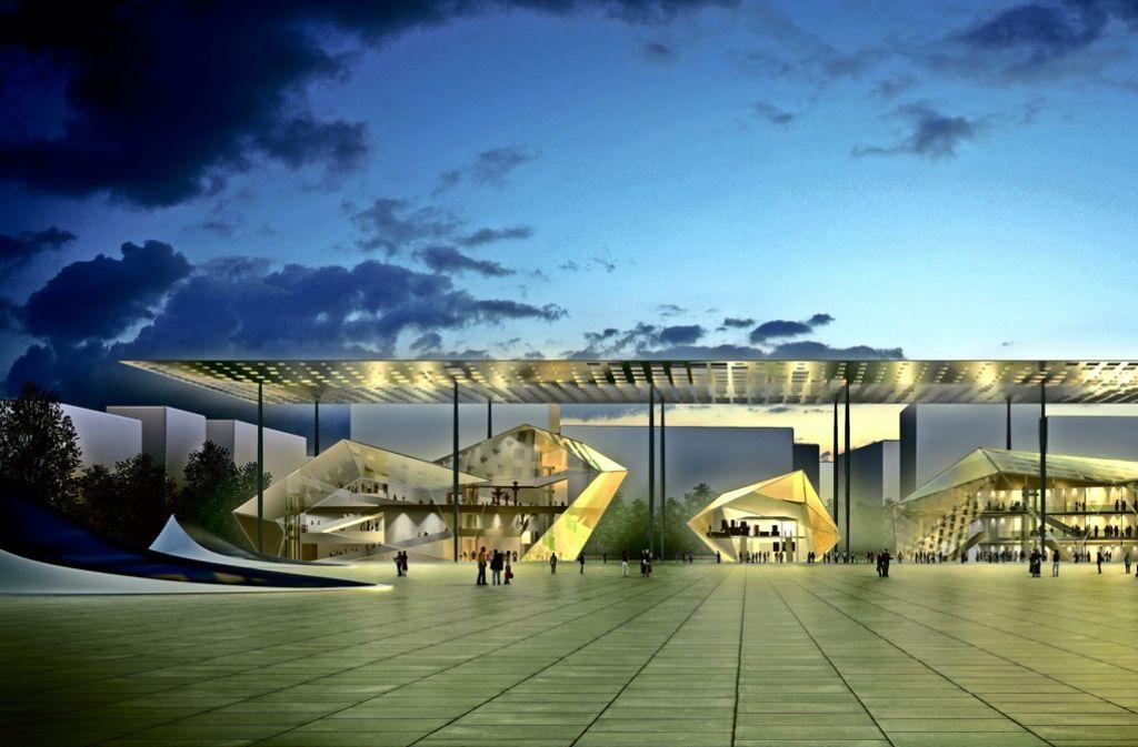 Nicht nur Christoph Ingenhoven hat das A-3-Gelände im Visier: Vor Jahren hat  Werner Sobek  eine Ideenskizze für eine Philharmonie hinterm Bonatz-Bau vorgelegt. Foto: Stadt Stuttgart