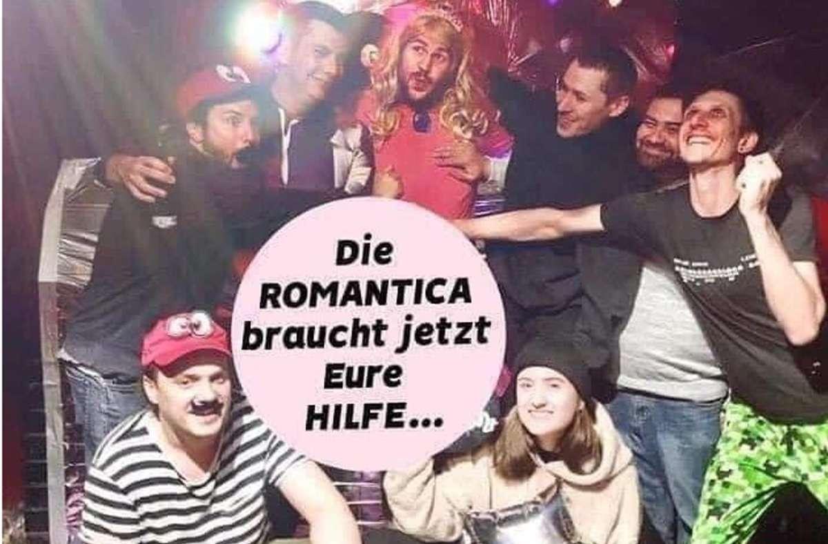 Mit diesem Foto bittet der Stuttgarter Club Romantica in den sozialen Medien um Spenden der Stammgäste. Foto: Romantica