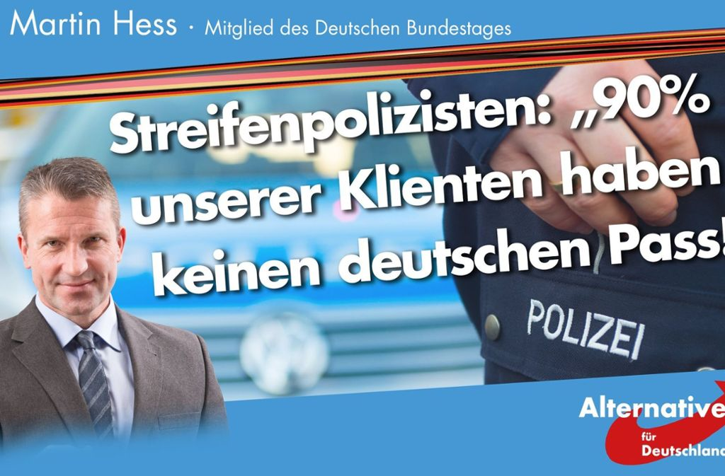 Mit solchen Parolen macht der AfD-Mann Martin Hess Stimmung auf Facebook. Foto: StZN