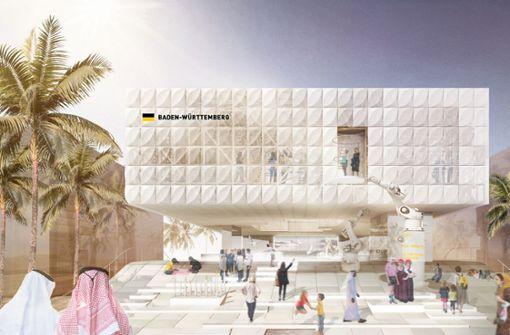 Am Baden-Württemberg-Pavillon sollten die Bauarbeiten starten