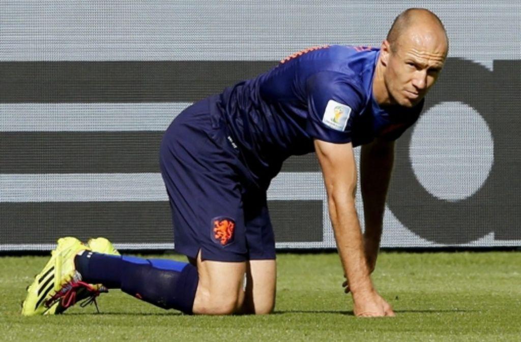 Geht nicht eben motiviert ins Spiel um Platz drei: Niederlandes Stürmer Arjen Robben Foto: dpa