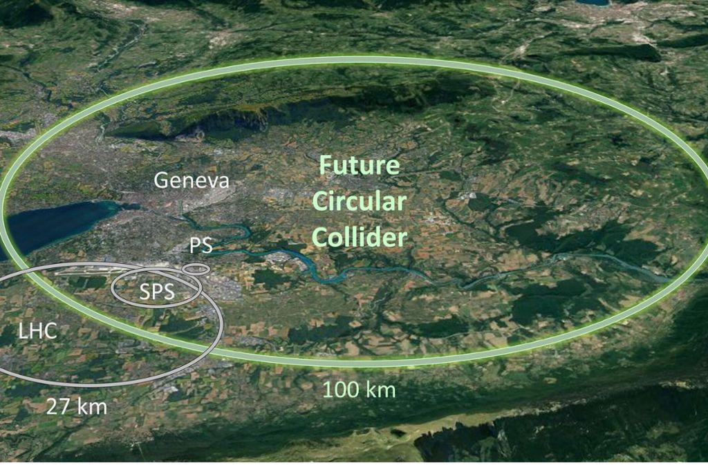 Elipsen, die auf dem Screenshot einer Google-Earth-Karte eingezeichnet wurden, zeigen die Ausmaße des bestehenden Teilchenbeschleunigers LHC, mit einen 27 Kilometer langen Tunnel (links). Der neue Super-Ringtunnel für den geplanten FCC-Teilchenbeschleuniger (grün) wäre 100 Kilometer lang. Foto: CERN/dpa
