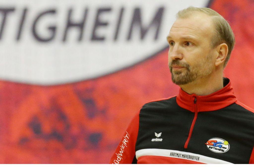 Bietigheims Trainer Mayerhoffer: Zu möglichen Kontakten zum TVB Stuttgart will er sich nicht äußern. Foto: Baumann