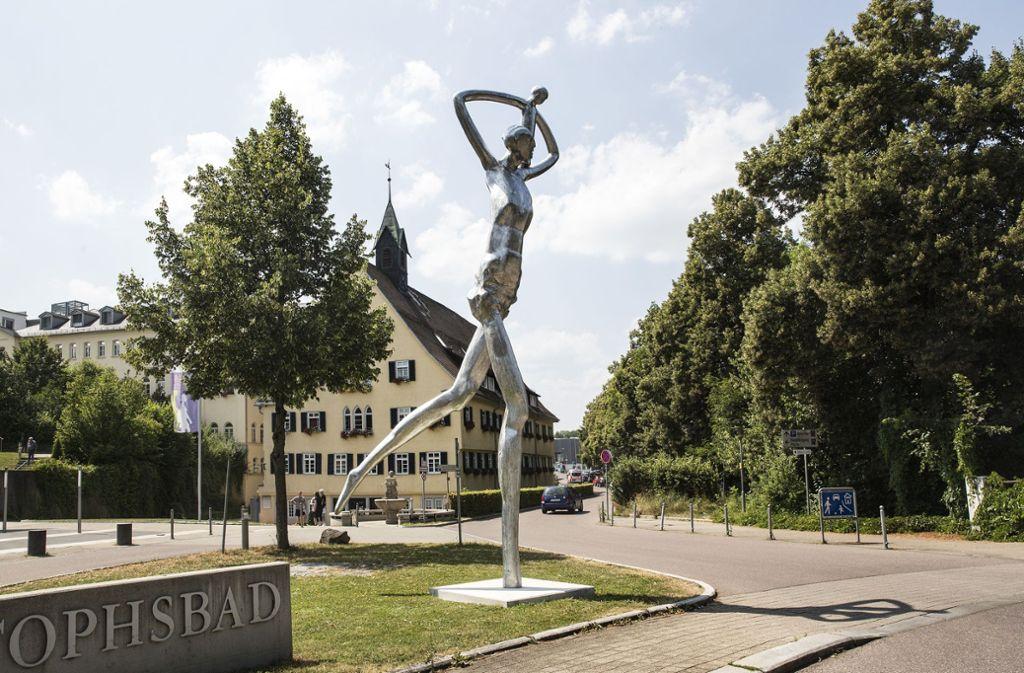 Ein Geschenk an Göppingen: die Skulptur des Christophorus Foto: Rudel