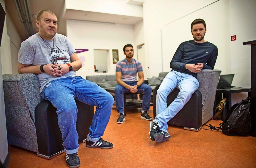 Die Sozialarbeiter: Daniel Metz, Jörg Reinhardt, Andreas Kirchner. (von links) Foto: Lichtgut/Leif Piechowski