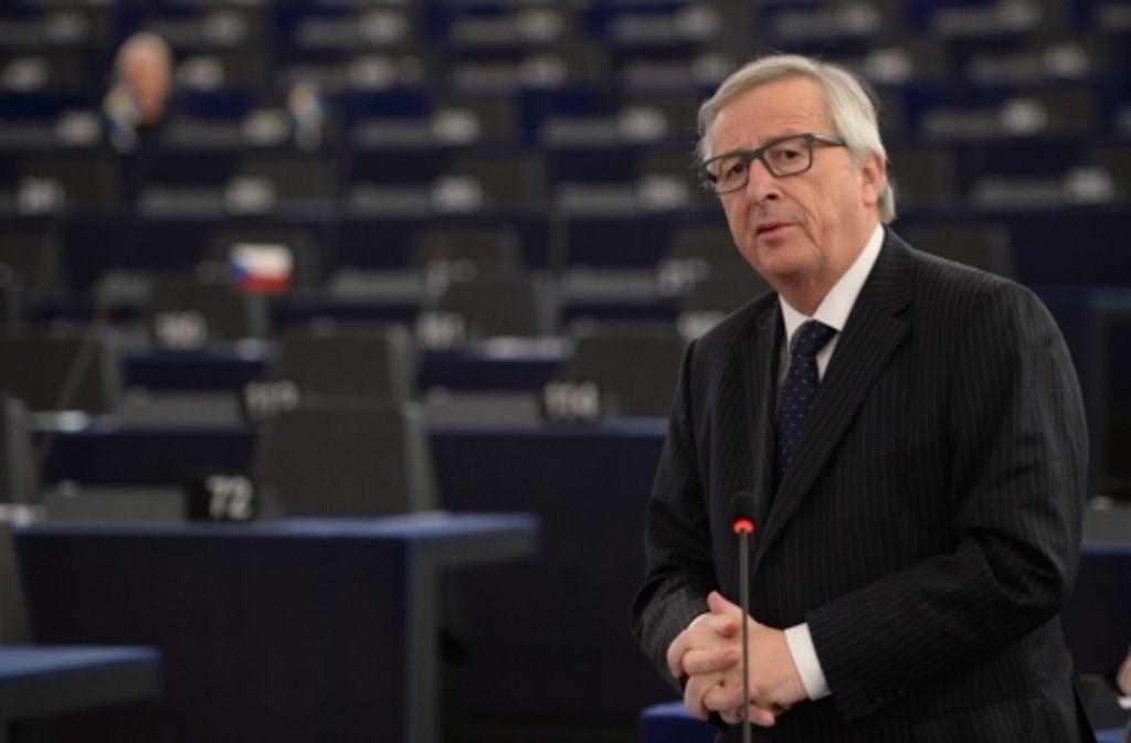 """Auftritt im EUParlament: """"Wir müssen die Aufteilung der Flüchtlinge auf ganz Europa bewerkstelligen"""", erklärte Jean-Claude Juncker. Foto: EPA"""