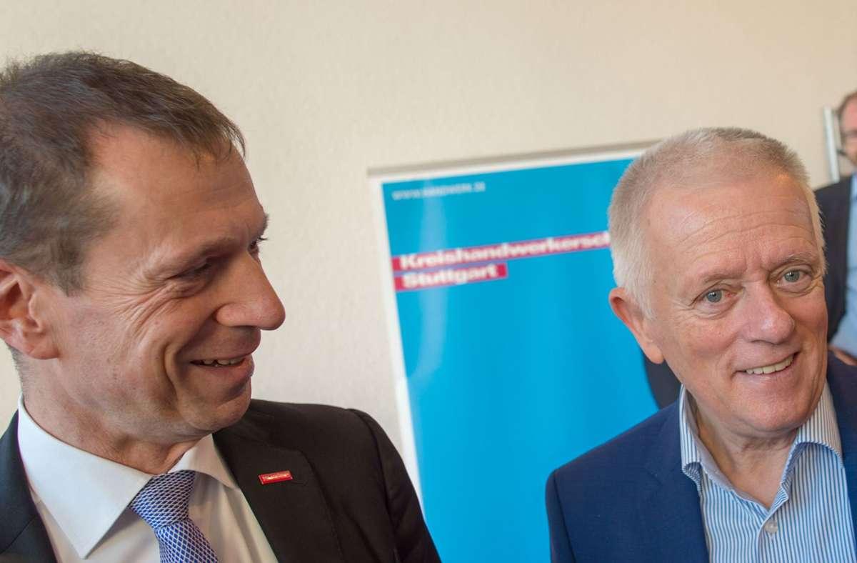 Sie können auch zusammen lachen, doch jetzt haben sich Alexander Kotz (links) und Fritz Kuhn gezofft. Foto: Lichtgut/Leif-Hendrik Piechowski