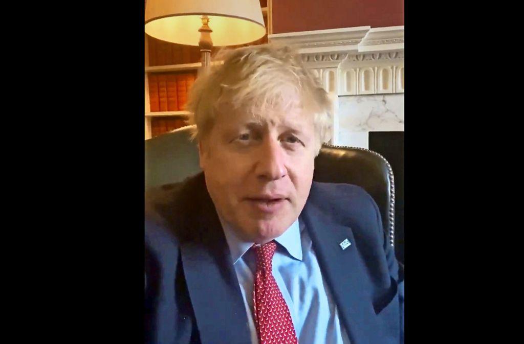 Per Video meldet sich Premierminister Boris Johnson bei den Briten und berichtete von seiner Infektion mit dem Coronavirus. Er will per Video weiterregieren. Foto: AFP