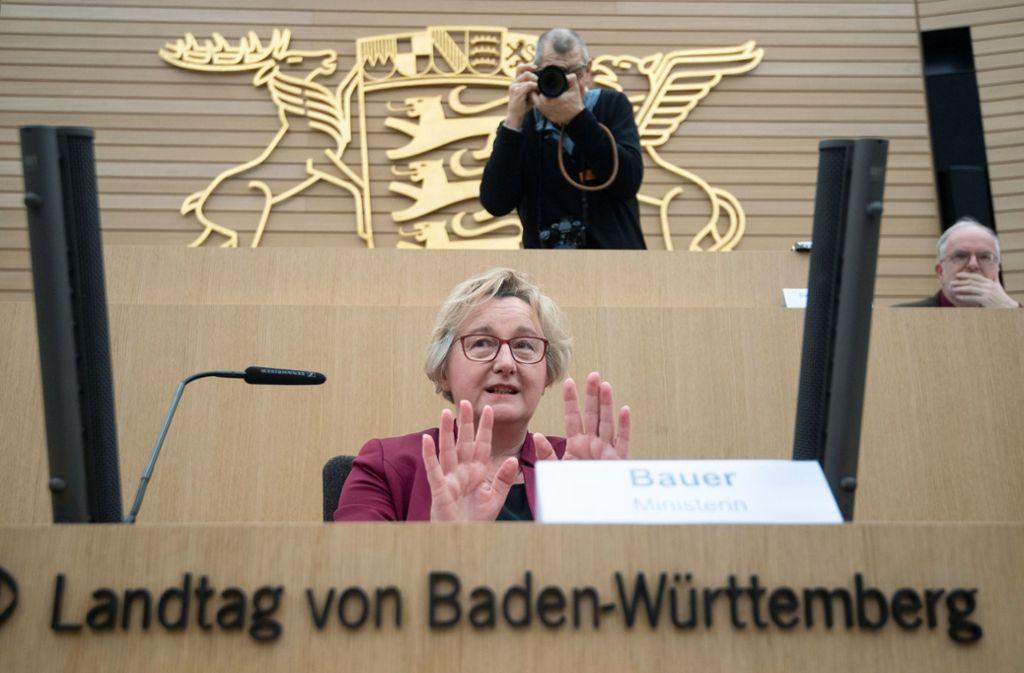 Theresia Bauer vor dem Untersuchungsausschuss zur sogenannten Zulagenaffäre. Foto: dpa