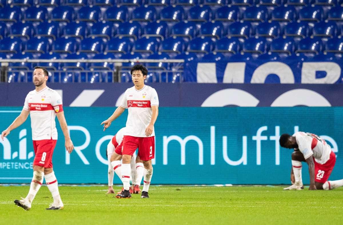 VfB-Coach Matarazzo fordert von Führungsspielern wie Gonzalo Castro, Wataru Endo oder Orel Mangala (v. li.) in schwierigen Situationen mehr Verantwortung. Foto: Baumann