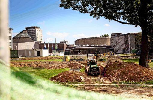 Grünanlage an der Liederhalle ist eine Baustelle