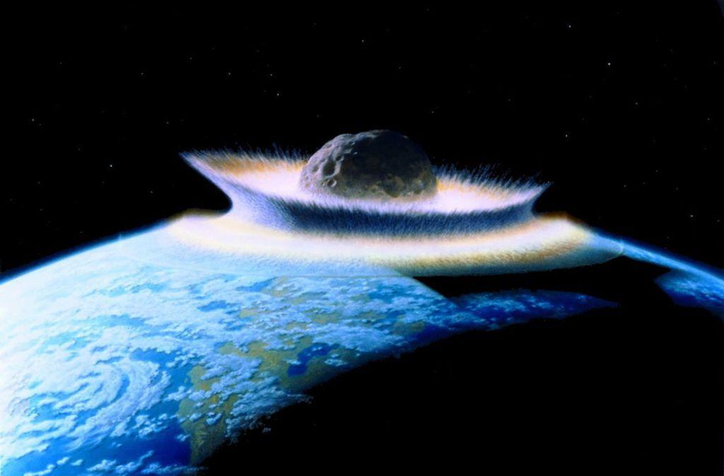 Künstlerische Darstellung des Einschlags eines 1000 Kilometer großen Asteroiden auf der Erde im Präkambrium vor rund 540 Millionen Jahren. Foto: Wikipedia commons/Don Davies