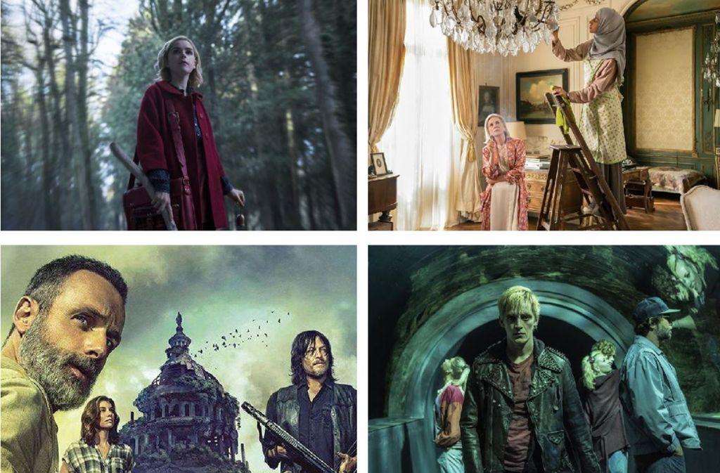 """Der Serien-Oktober wird spannend mit """"Chilling Adventures of Sabrina"""", """"The Romanoffs"""", """"Deutschland 86"""" und """"The Walking Dead"""" (von links oben im Uhrzeigersinn). Einige weitere erste Serieneindrücke zeigt unsere Bildergalerie. Foto: Amazon, Fox, Netflix"""