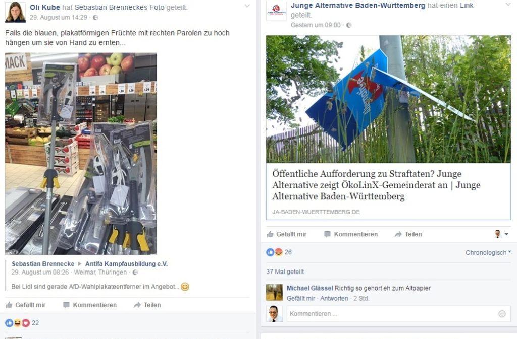 Der umstrittene Post von Oliver Kube (links) und die Antwort der AfD-Jugend. Foto: StZ