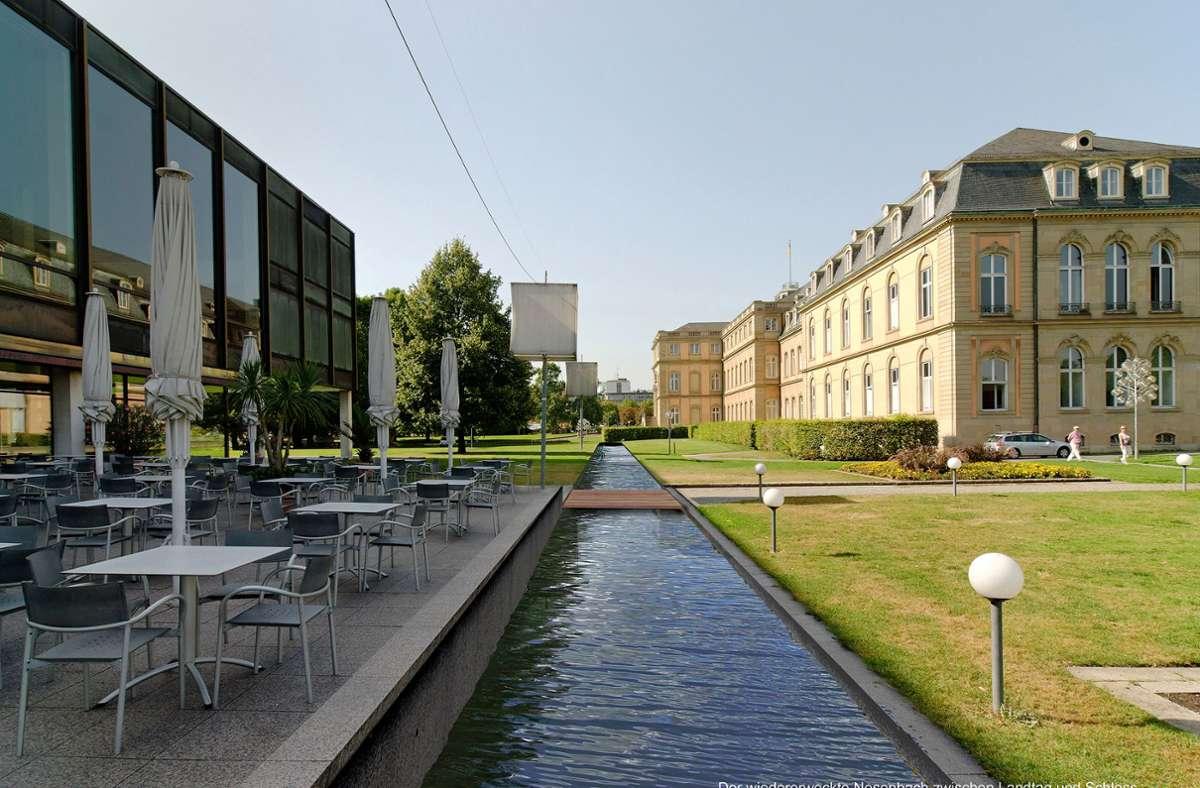 So könnte der Nesenbach am Landtag  vorbeifließen Foto: /Visualisierung Ostertag