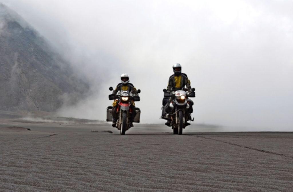 81 000 Kilometer haben die Fanias mit ihren Motorrädern in 24 Monaten zurückgelegt. Foto: privat