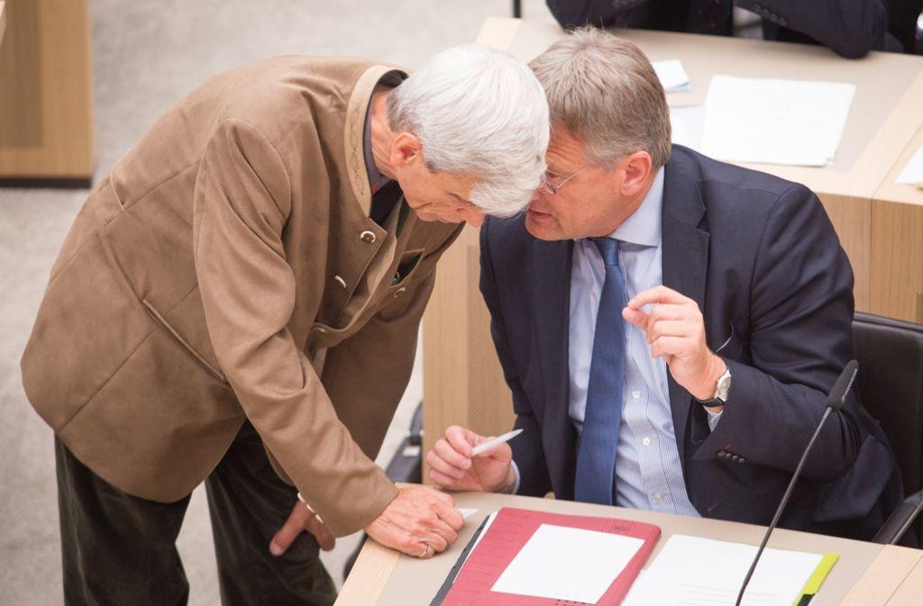 Wolfgang Gedeon im Gespräch mit  Jörg Meuthen, Fraktionschef der AfD im Stuttgarter Landtag. Foto: dpa