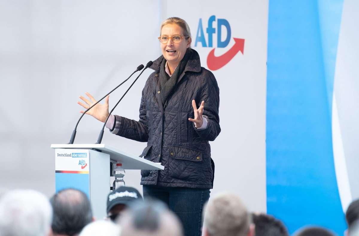 """Alice Weidel nannte das Abschneiden ihrer Partei """"sehr solide"""". Foto: dpa/Sebastian Kahnert"""
