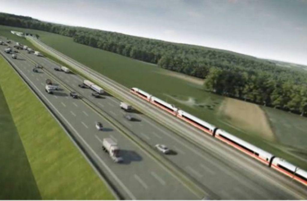 Die Neubaustrecke und die sechsspurige A8 existieren bislang nur in Grafiken. Foto: Archiv