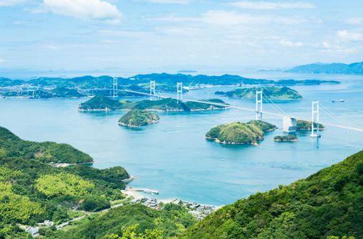Schöne Aussicht garantiert eine Fahrradtour auf dem Shimanami Kaido.