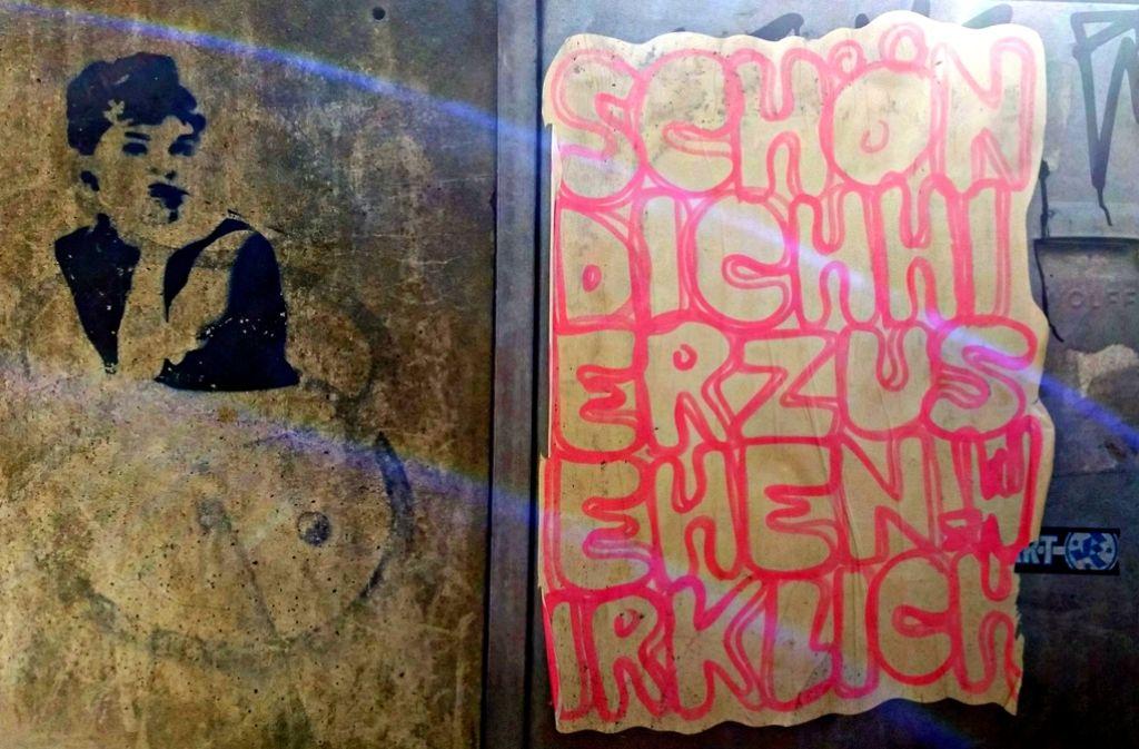 """""""Schön, dich heute hier zu sehen! Wirklich"""", teilt diese pinke Botschaft vor einem Monat an der Ecke Etzel-/Alexanderstraße in Stuttgart mit. Sprüche dieser Art sind in der ganzen Stuttgarter Innenstadt verteilt.Foto:Philipp Maisel Foto:"""