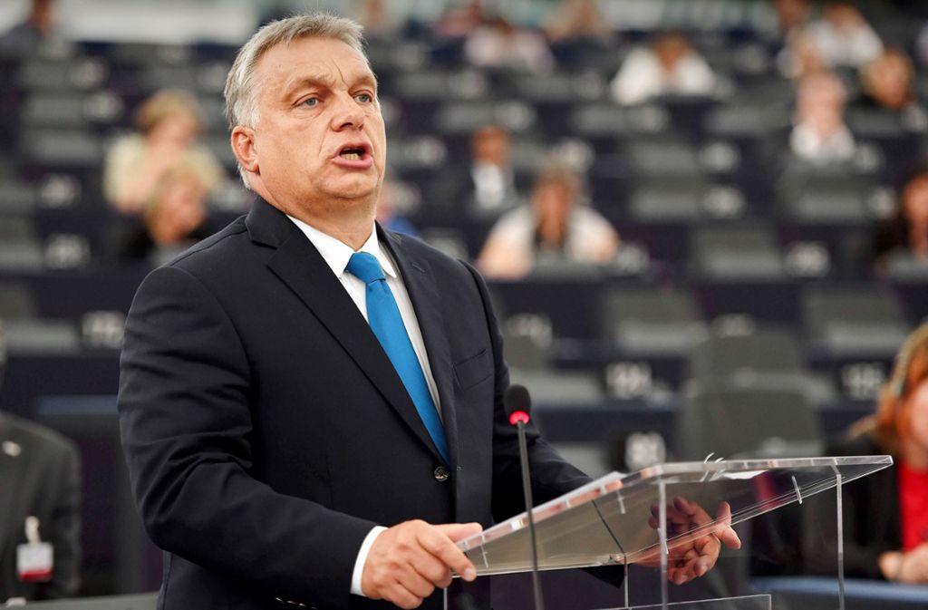 Selbstbewusster Auftritt: Viktor Orbán im Europäischen Parlament Foto: AFP
