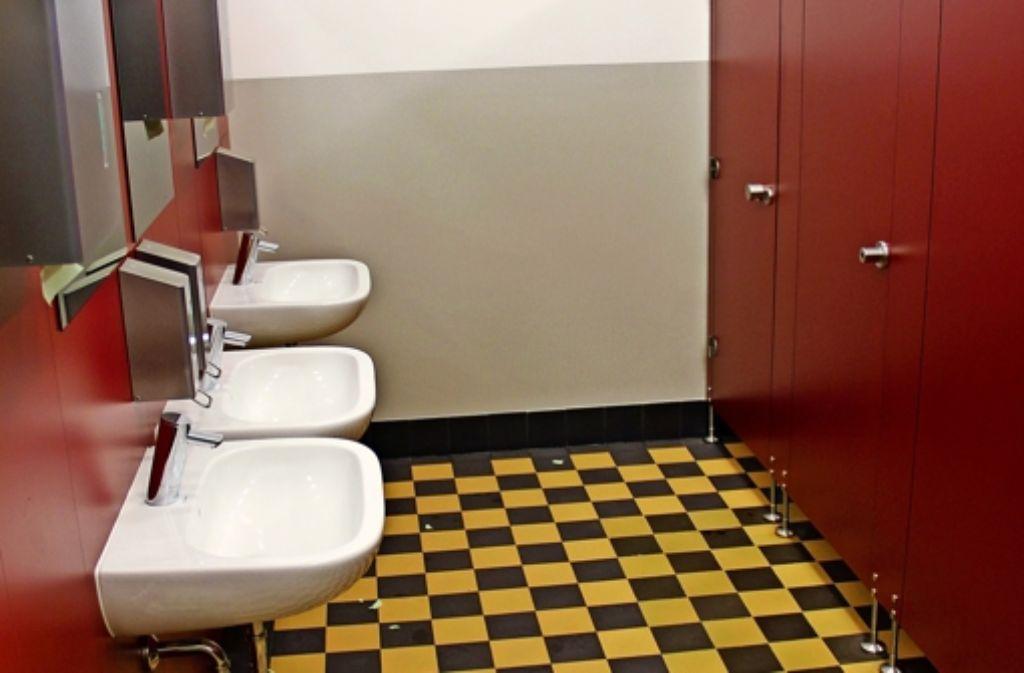 Historischer Boden, neue sanitäre Anlagen: so sieht mittlerweile die Mädchentoilette aus. Foto: