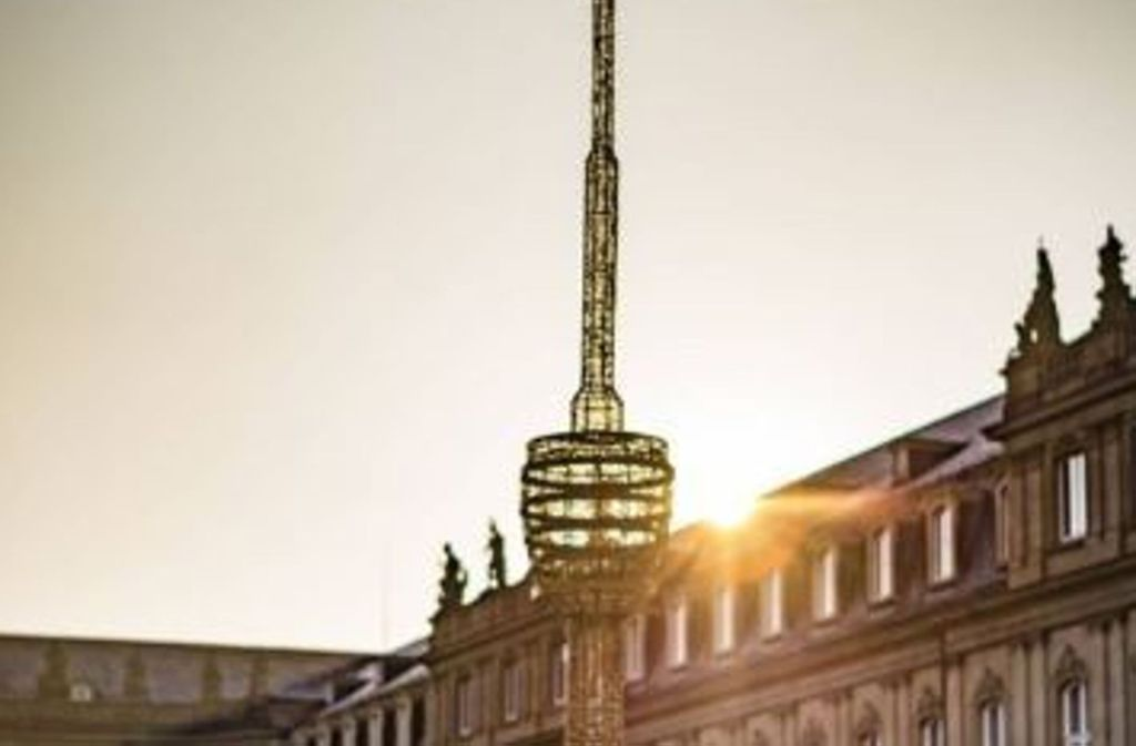 Auf dem Schlossplatz leuchtet bald ein Double des Stuttgarter Fernsehturms. Foto: dpa