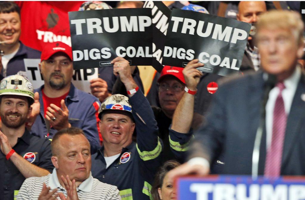Der designierte US-Präsident Donald Trump hat bei den Beschäftigten der Kohle-Industrie viele Freunde, weil er auf fossile Energien setzt. Foto: AP
