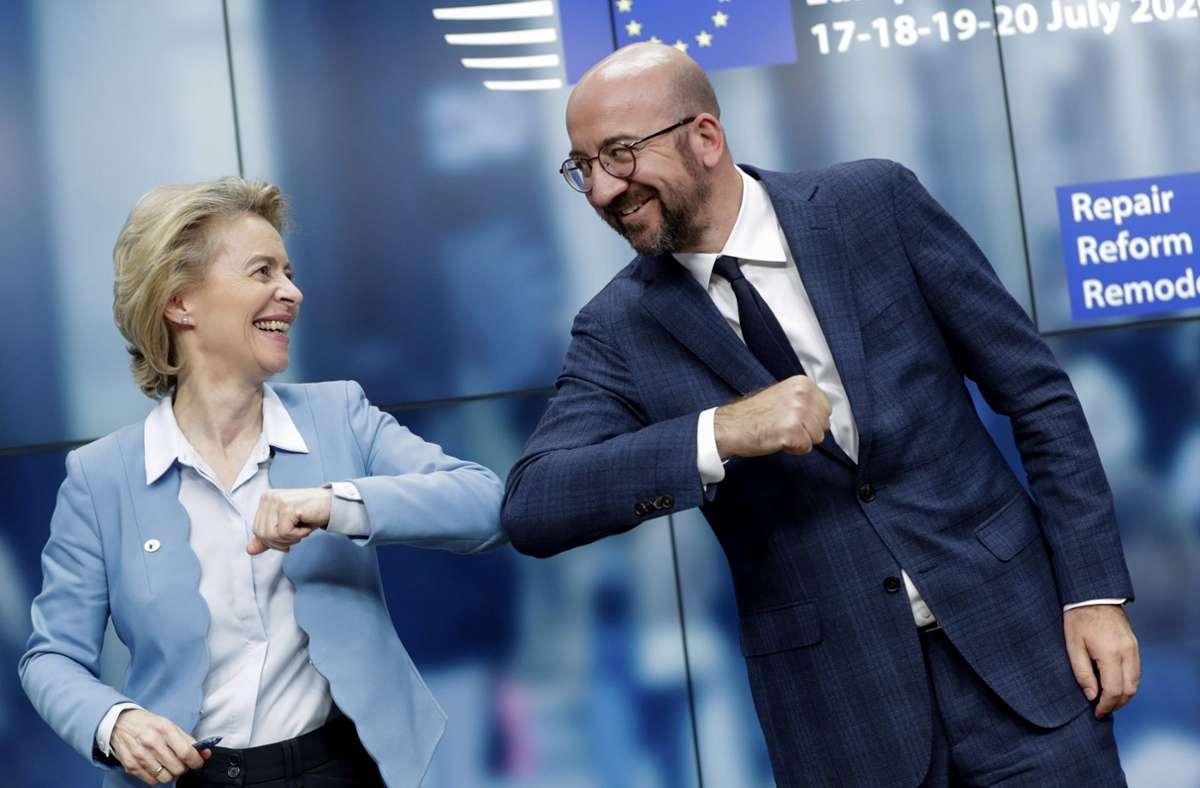 EU-Kommissionschefin Ursula von der Leyen und EU-Ratschef Charles Michel Foto: dpa/Stephanie Lecocq