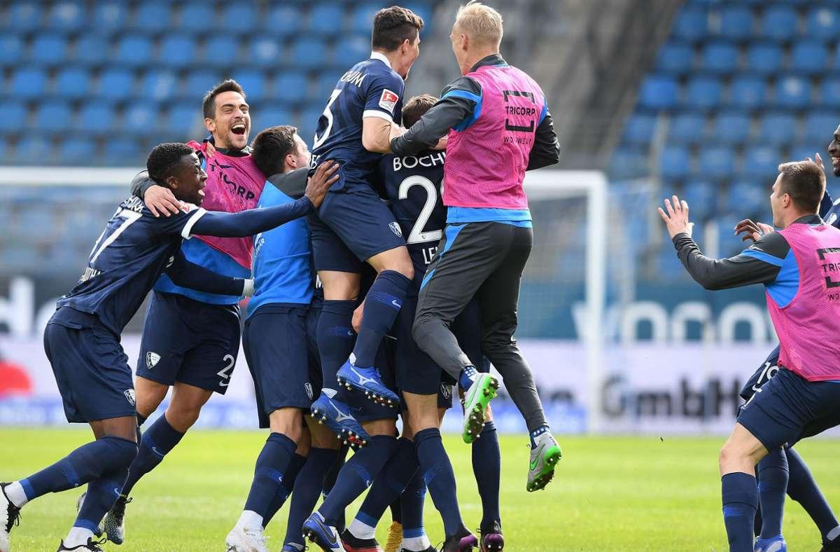 Der VfL Bochum macht durch ein 3:1  gegen den SVSandhausen nach elf Jahren die Rückkehr in die Bundesliga perfekt. Foto: dpa/Guido Kirchner