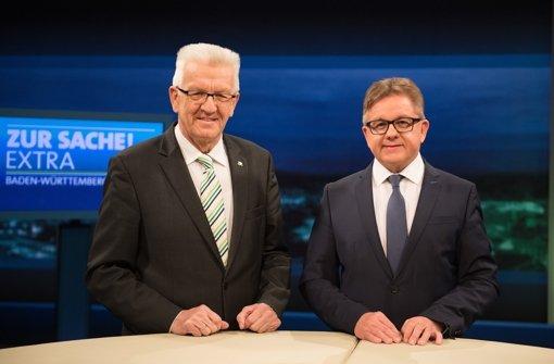Im Streitgespräch am Donnerstagabend im Südwestrundfunk haben sich Winfried Kretschmann (l.) und Guido Wolf teilweise erheblich widersprochen. Foto: dpa