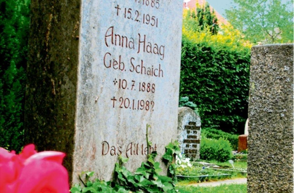 Am 10. Juli wollen Birkacher Bürger Anna Haag an ihrem Grab gedenken. Der Tag ist das Geburtsdatum der Schriftstellerin und Pazifistin. Foto: Archiv Judith A. Sägesser
