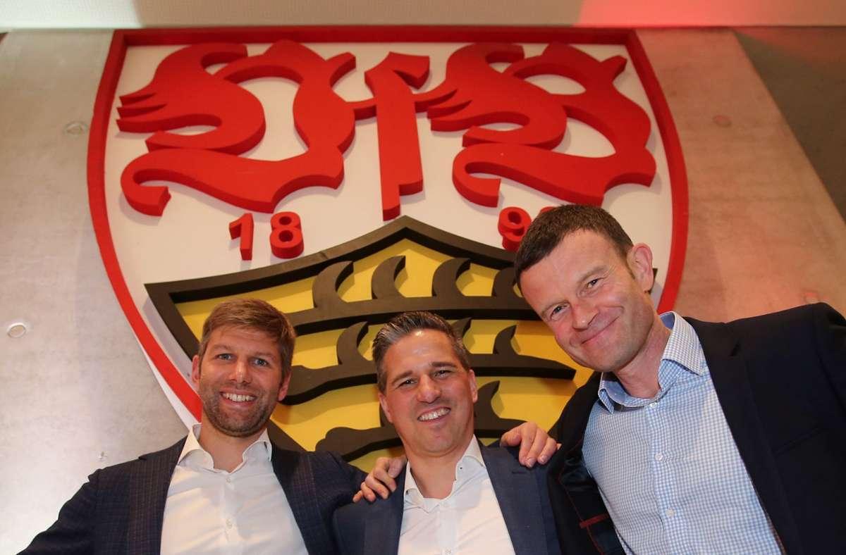 Jochen Röttgermann (rechts) und Stefan Heim (Mitte) müssen gehen – im VfB-Vorstand bleibt damit nur Thomas Hitzlsperger übrig. Foto: Pressefoto Baumann