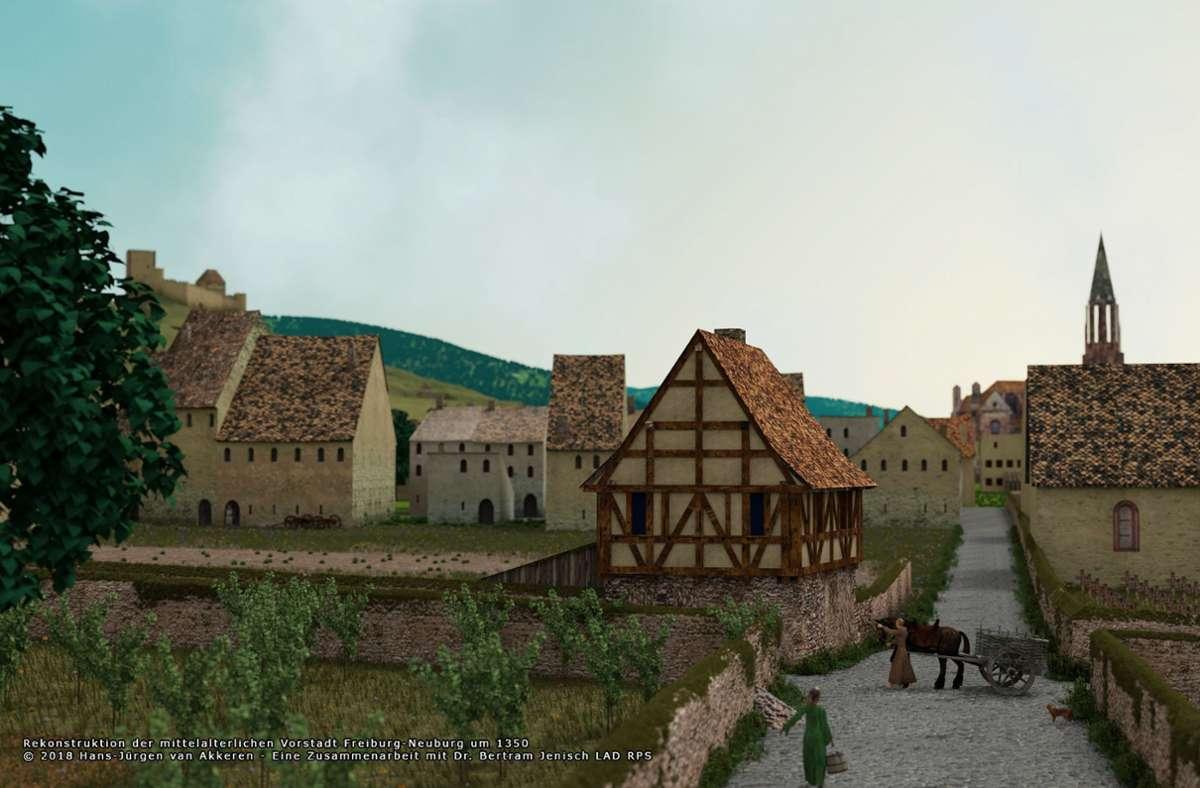 Solide Quellenlage: Rekonstruktion der mittelalterlichen Vorstadt  Freiburg – Neuburg um 1350 Foto: Hans-Jürgen van Akkeren