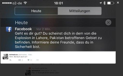 Facebook-Nutzer nach Pakistan verortet
