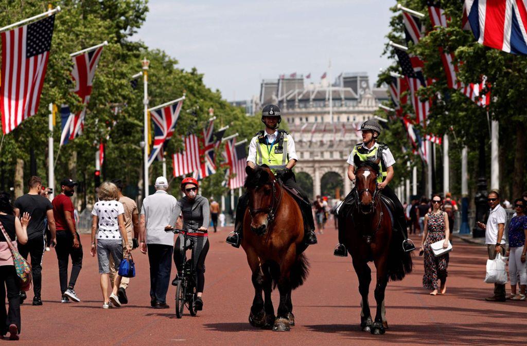 London macht sich schick für den Besuch von Donald Trump – mit amerikanischen Flaggen vor dem Buckingham Palace. Foto: AFP