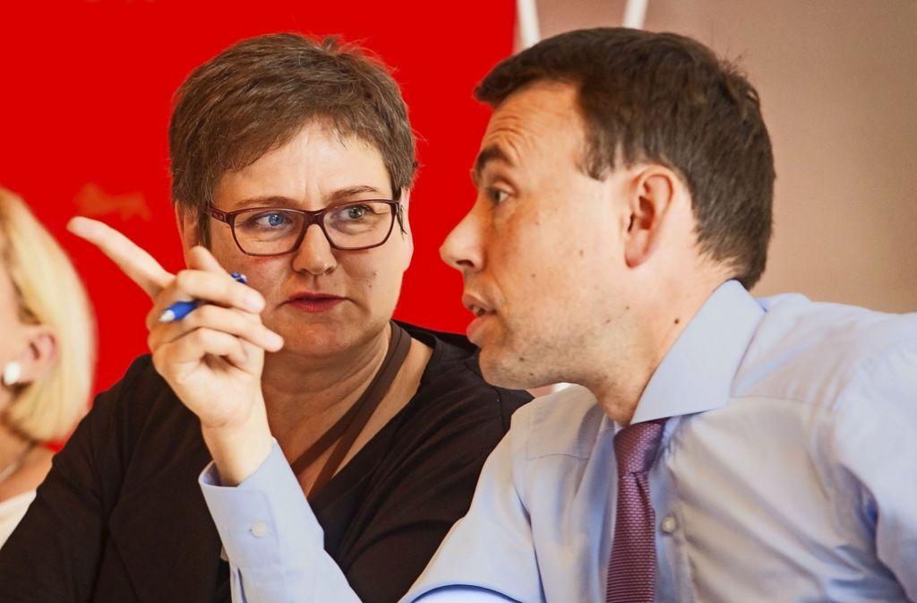 Nils Schmid gibt den SPD-Landesvorsitz an die Verdi-Gewerkschafterin Leni Breymaier (links) ab. Foto: dpa