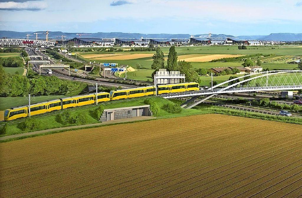 So wie in der Illustration wird von 2021 an die U6 über die Autobahn in Richtung Flughafen rollen. Foto: SSB