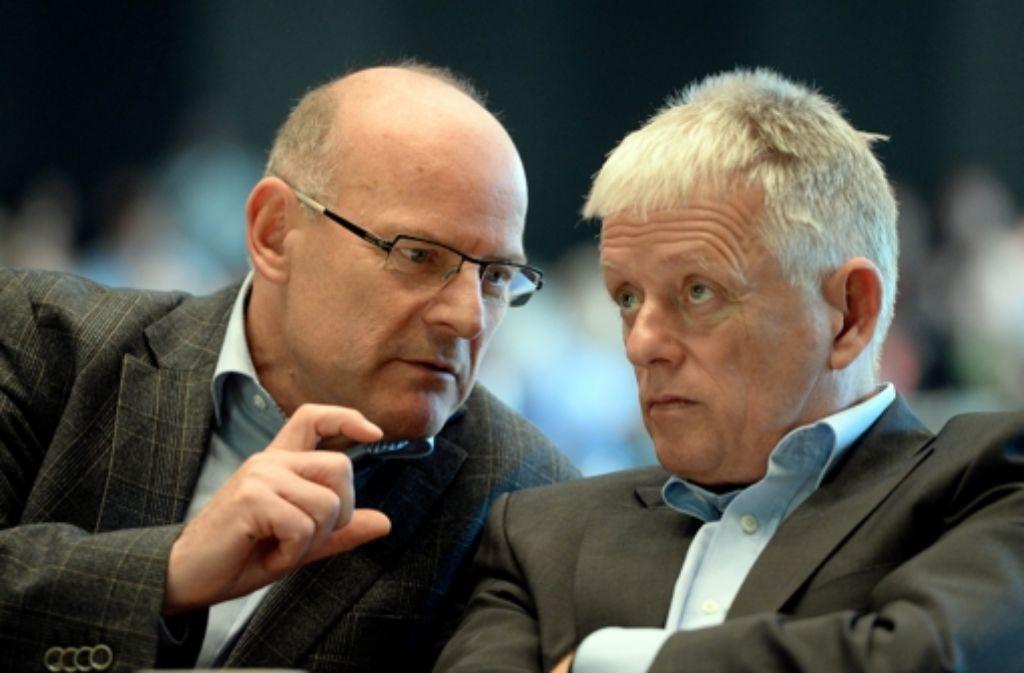 Fritz Kuhn (hier mit Verkehrsminister Winfried Hermann) vermittelt in Sachen Fildertunnel. Foto: dpa