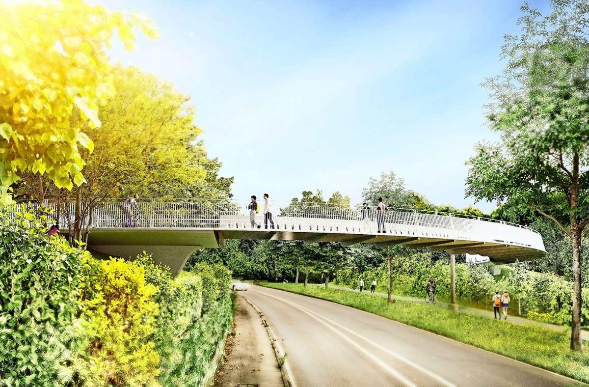 Über die Ludwigsburger Straße soll eine 3,20 Meter breite und 35 Meter lange Fuß- und Radbrücke führen. Foto: Knippers Helbig