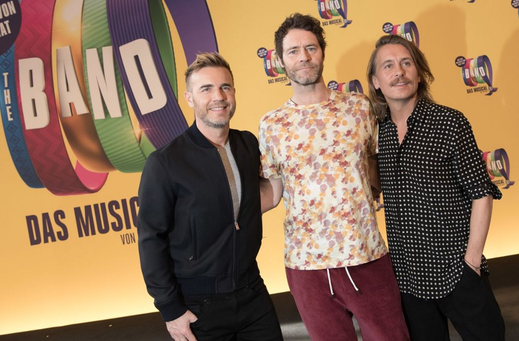 Drei der Take-That-Stars haben das Musical produziert: Gary Barlow, Howard Donald, Mark Owen (v. li.) Foto: dpa