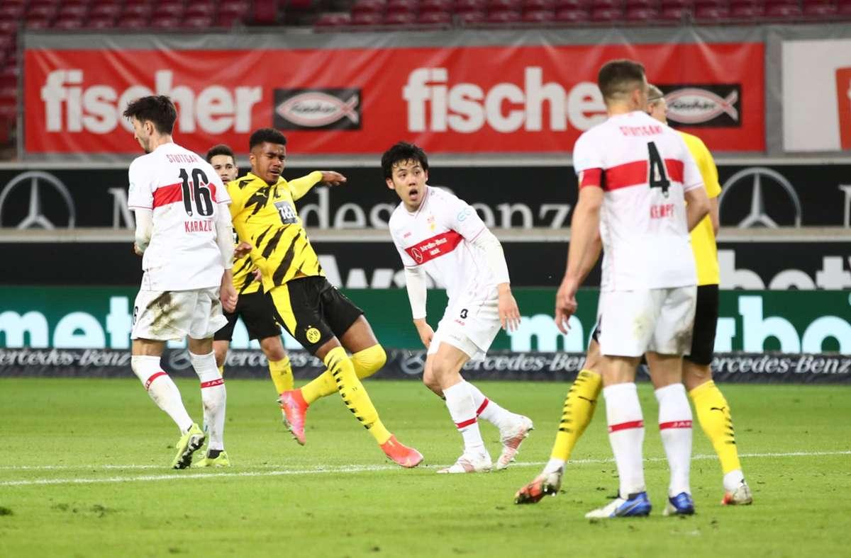 Ansgar Knauff traf den VfB Stuttgart in der 80. Minute mitten ins Herz. Foto: dpa/Tom Weller