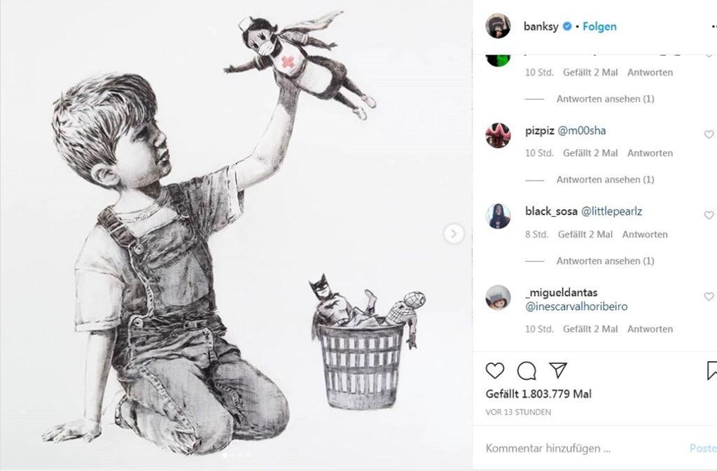 Auch auf seinem Instagram-Account hat Banksy sein neues Bild veröffentlicht. Foto: Banksy/Screenshot