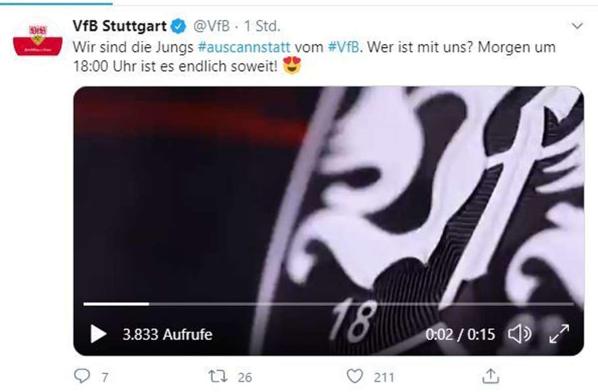 Der VfB Stuttgart zeigt Details des neuen Trikots. Foto: VfB Stuttgart/Screenshot Twitter