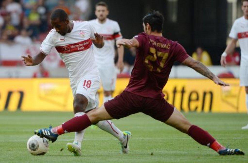 Abgegrätscht! Der VfB Stuttgart wird von HNK Rijeka ausgebremst und schafft es nicht in die Gruppenphase der Europa League. Foto: dpa