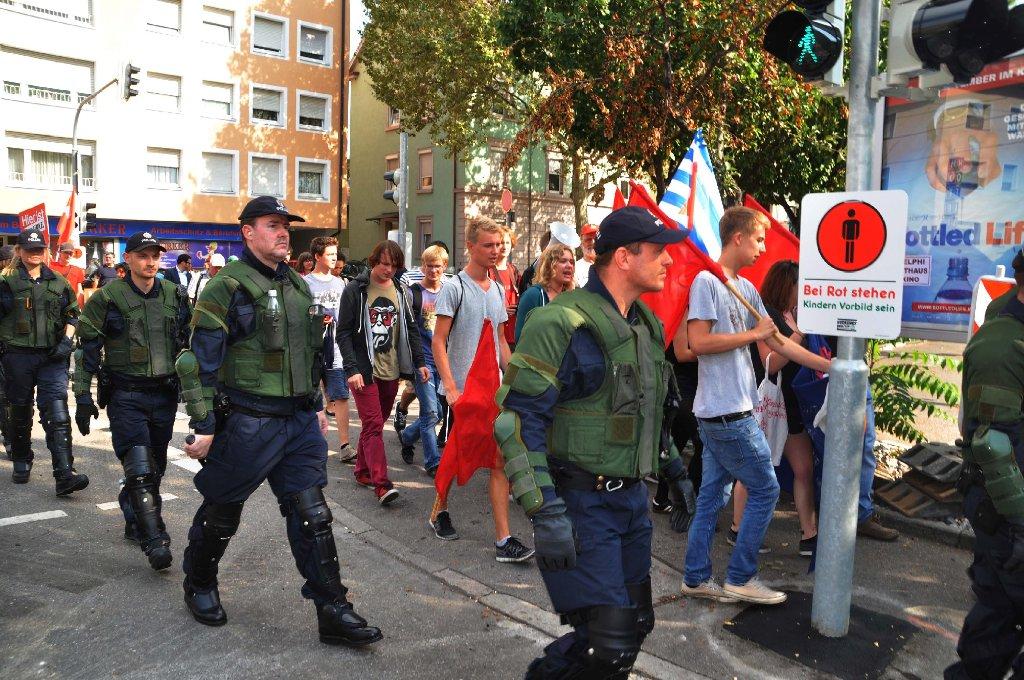 Demo CHaos  und Großeinsatz  bei der Polizei Foto: Andreas Rosar Fotoagentur-Stuttgart