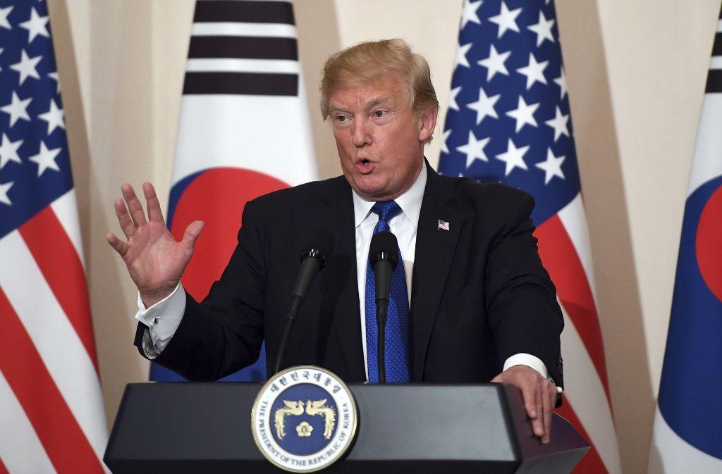 US-Präsident Donald Trump während einer Pressekonferenz während seines Besuchs in Südkorea. Foto: POOL AFP