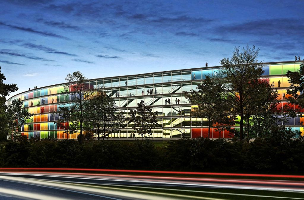 Der Vaihinger Bahnhof soll eine Mobilitätsdrehscheibe werden. Auf dem Eiermann-Campus könnte eine bewohnbare Lärmschutzwand entstehen. Der Entwurf stammt von dem Büro Steidle Architekten. Foto: Steidle Architekten